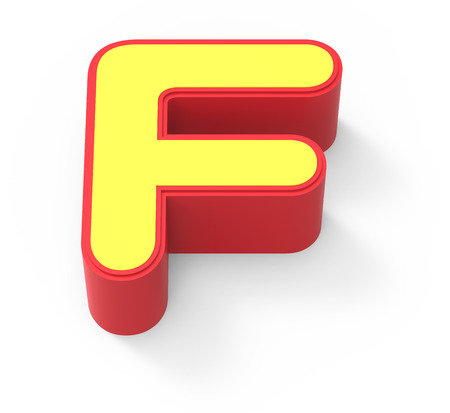 red framed yellow letter F, 3D rendering graphic isolated on white background, top view