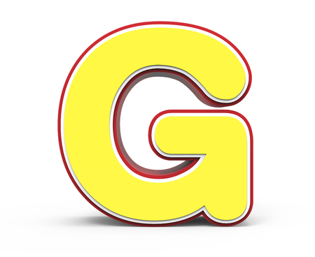 yellow letter G, 3D rendering graphic isolated on white background Stock Photo