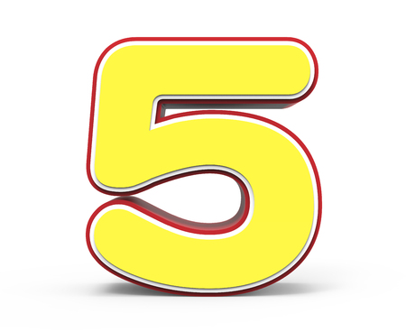 yellow number 5, 3D rendering graphic isolated on white background Stock Photo