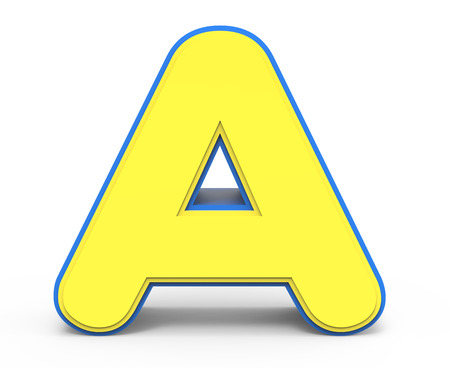 3d rendering cute yellow  letter A isolated white background, toylike alphabet for design, yellow word with blue frame