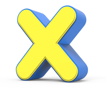 right leaning 3d rendering cute yellow  letter X isolated white background, toylike alphabet for design, yellow word with blue frame