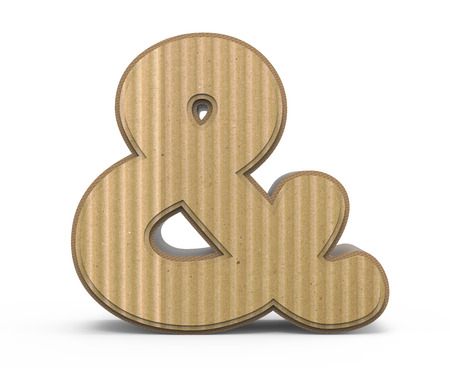 corrugated cardboard ampersand mark, 3D rendering graphic isolated on white background Stock Photo