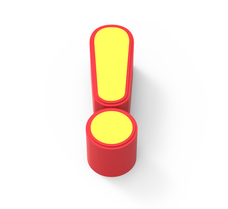 framed: red framed yellow exclamation mark, 3D rendering graphic isolated on white background, top view Stock Photo