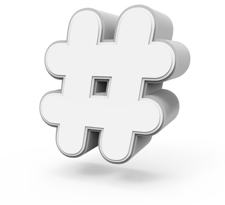 symbol  punctuation: right tilt white hashtag mark, 3D rendering graphic isolated on white background