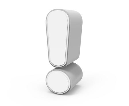 recht tilt wit uitroepteken, 3D grafische rendering geïsoleerd op een witte achtergrond