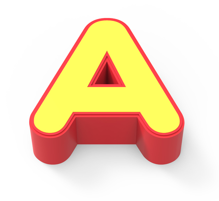 framed: red framed yellow letter A, 3D rendering graphic isolated on white background, top view