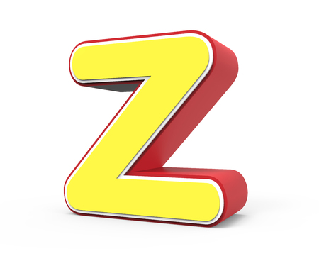 right tilt red framed yellow letter Z, 3D rendering graphic isolated on white background