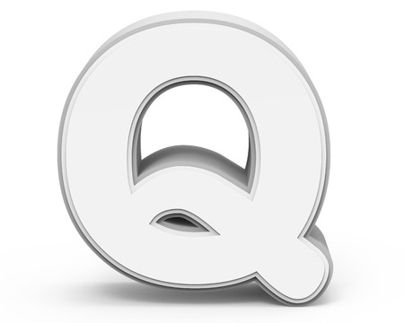 single word: white letter Q, 3D rendering graphic isolated on white background