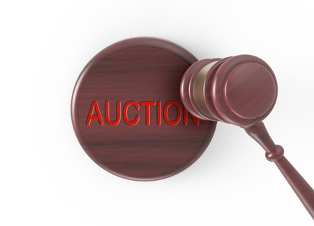 defendant: 3D rendering gavel, gavel for justice or auction concept isolated on white background, top view of word auction