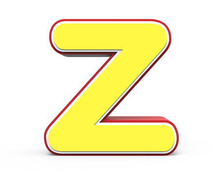 yellow letter Z, 3D rendering graphic isolated on white background Stock Photo