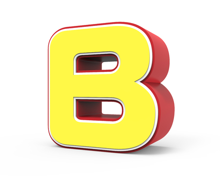 framed: right tilt red framed yellow letter B, 3D rendering graphic isolated on white background Stock Photo