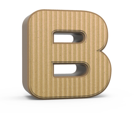 single word: left tilt corrugated cardboard letter B, 3D rendering graphic isolated on white background