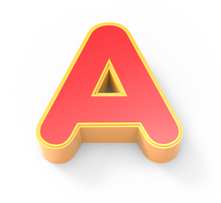 yellow framed red letter A, 3D rendering graphic isolated on white background, top view