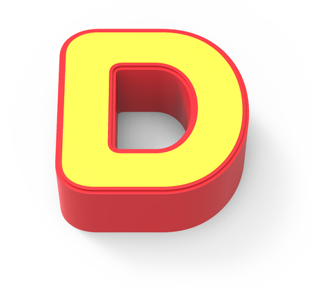 framed: red framed yellow letter D, 3D rendering graphic isolated on white background, top view