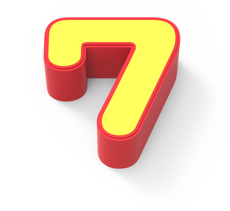 top 7: red framed yellow number 7, 3D rendering graphic isolated on white background, top view
