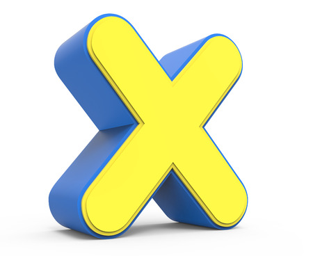 x games: 3d rendering cute yellow  letter X isolated white background, toylike alphabet for design, yellow word with blue frame, left leaning