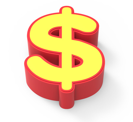 framed: red framed yellow money mark, 3D rendering graphic isolated on white background, top view Stock Photo