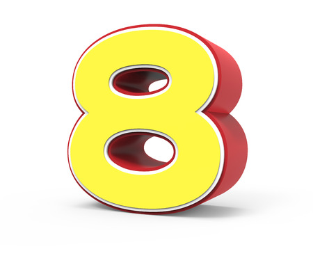 framed: right tilt red framed yellow number 8, 3D rendering graphic isolated on white background