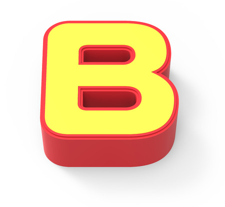 framed: red framed yellow letter B, 3D rendering graphic isolated on white background, top view