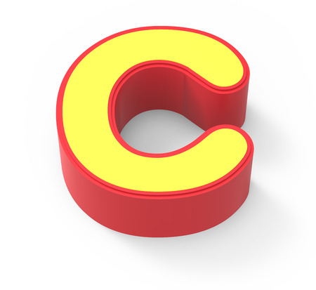 red framed yellow letter C, 3D rendering graphic isolated on white background, top view