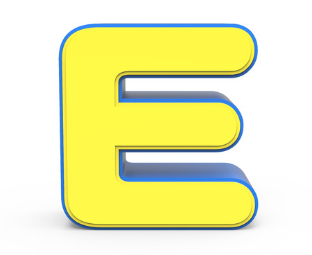 e white: 3d rendering cute yellow  letter E isolated white background, toylike alphabet for design, yellow word with blue frame Stock Photo