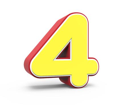 framed: left tilt red framed yellow number 4, 3D rendering graphic isolated on white background