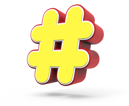 right tilt red framed yellow hashtag mark, 3D rendering graphic isolated on white background Stock Photo