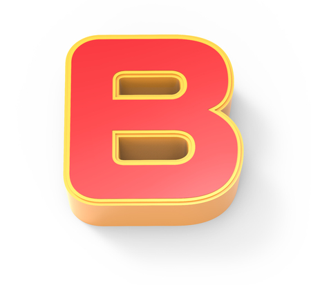 framed: yellow framed red letter B, 3D rendering graphic isolated on white background, top view