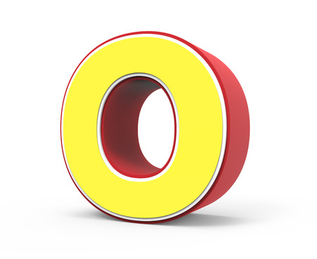 right tilt red framed yellow letter O, 3D rendering graphic isolated on white background