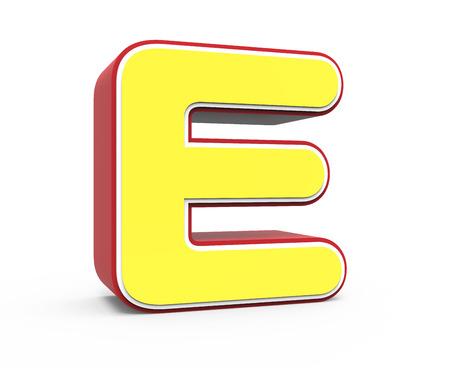 left tilt red framed yellow letter E, 3D rendering graphic isolated on white background Stock Photo
