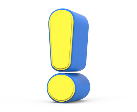 cute yellow exclamation symbol sign, yellow sign with blue frame, toylike sign for design, 3d rendering Stock Photo