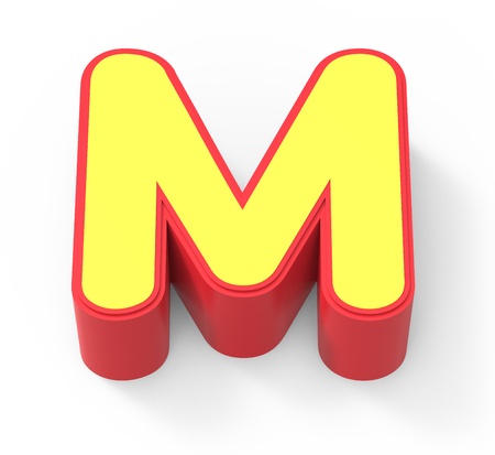 red framed yellow letter M, 3D rendering graphic isolated on white background, top view