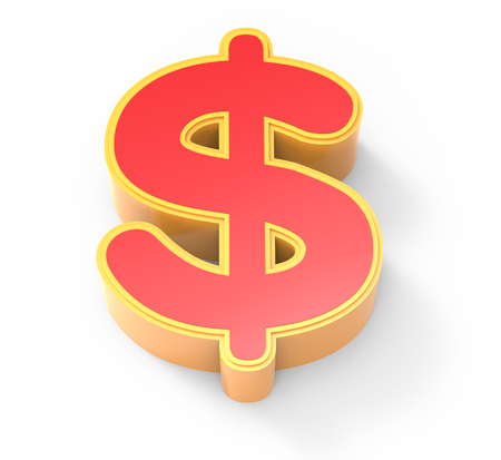 framed: yellow framed red money mark, 3D rendering graphic isolated on white background, top view