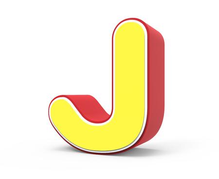 framed: right tilt red framed yellow letter J, 3D rendering graphic isolated on white background Stock Photo