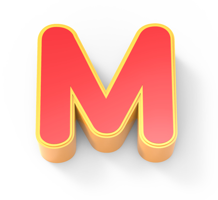 framed: yellow framed red letter M, 3D rendering graphic isolated on white background, top view