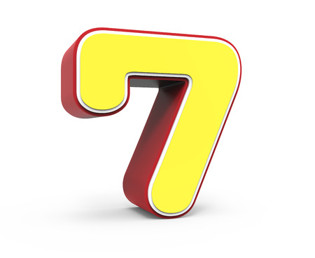 left tilt red framed yellow number 7, 3D rendering graphic isolated on white background