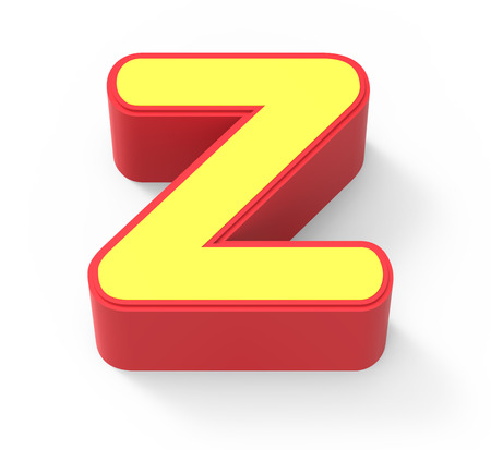 red framed yellow letter Z, 3D rendering graphic isolated on white background, top view Stock Photo