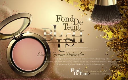 Luxury blush ads, golden cheek blush compact with brush tool on polygon and sandy background, 3d illustration