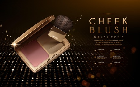 Modern cheek blush ads, blush with brush and glitter elements for design, 3d illustration