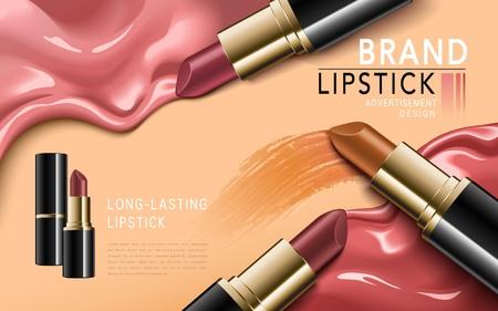 Bezaubernde Lippenstiftsanzeigen, eleganter Lippenstift für Make-up, rosa Beschaffenheit auf dem Hintergrund, Illustration 3d