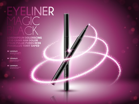 Eyeliner pen ads, glittering effects with bokeh background, 3d illustration