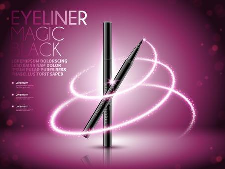 Eyeliner pen advertenties, glinsterende effecten met bokeh achtergrond, 3d illustratie Stock Illustratie