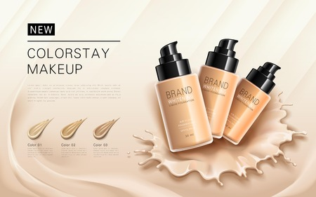 anuncios de cimentación elegantes, diferentes tonos de piel para elegir, efectos de salpicaduras base de maquillaje líquida en el fondo, ilustración 3d Ilustración de vector
