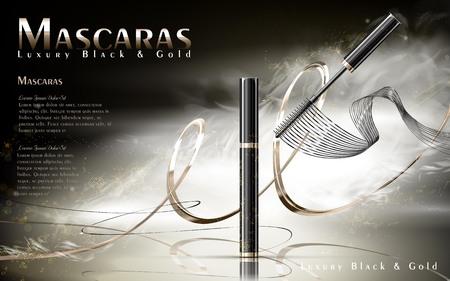 Luxe mascara's advertenties, zwart en gouden pakket met stroomlijnen, mistige achtergrond, 3d illustratie Stock Illustratie