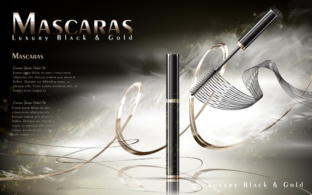 Luxury mascaras ads, black and golden package with streamline, foggy background, 3d illustration Illustration