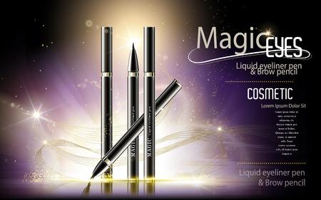 annonces de stylo Eyeliner, modèle de produit cosmétique avec des paillettes fond violet, illustration 3d