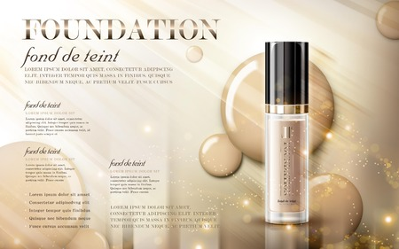 Glamorous foundation ads, glass bottle with foundation and sparkling effects, elegant ads for design, 3d illustration