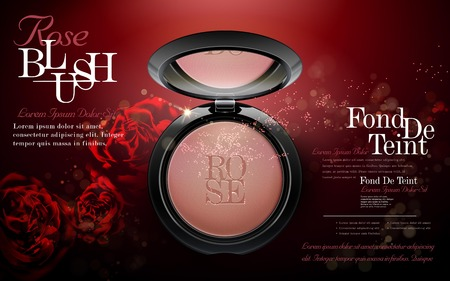 Charme rosa annunci arrossire, guancia rosa cipria compatta con rose e elementi glitter per la progettazione, illustrazione 3D