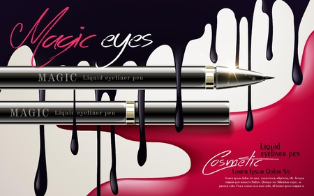 eyeliner: Eyeliner pen ads, cosmetic product template with black liquid dripping from top, 3d illustration