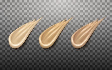 Vloeibare basiselementen, verschillende huidtinten voor ontwerp of cosmetische advertenties, 3d illustratie